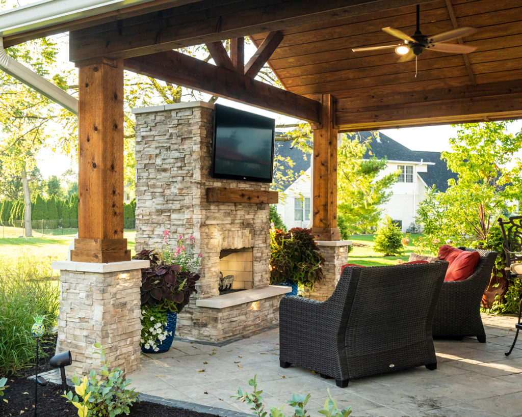 Outdoor fire places offer a polished entertaining feature