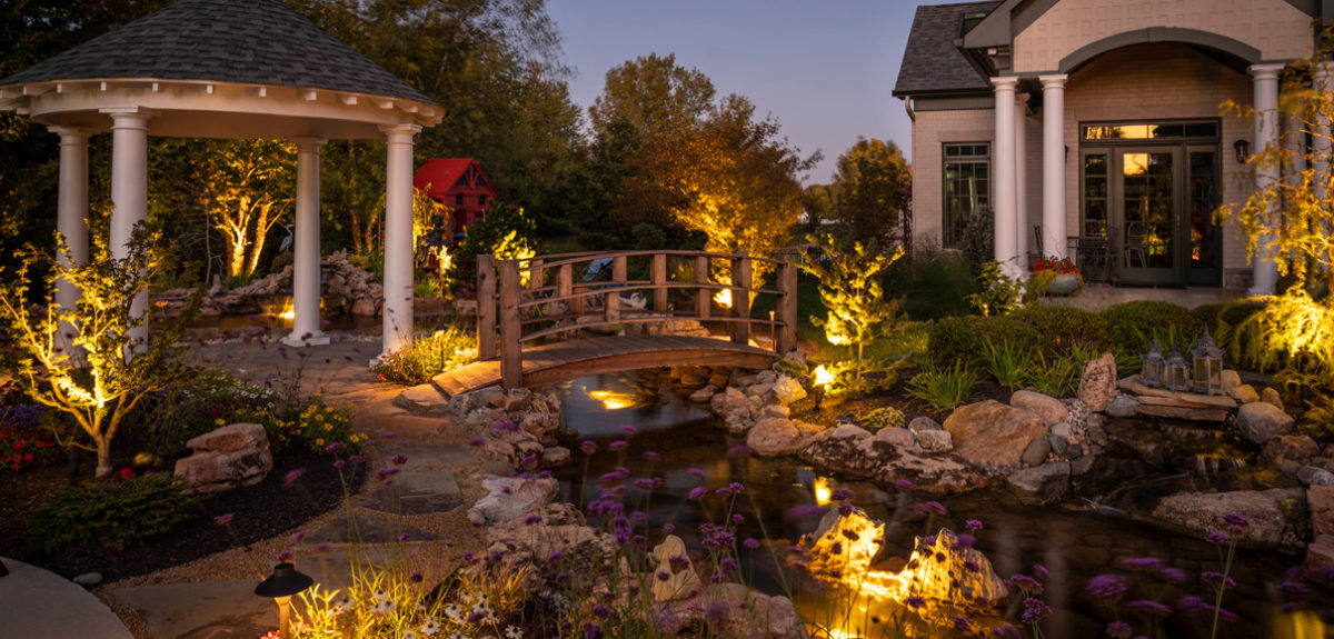 backyard secret garden with a koi pond