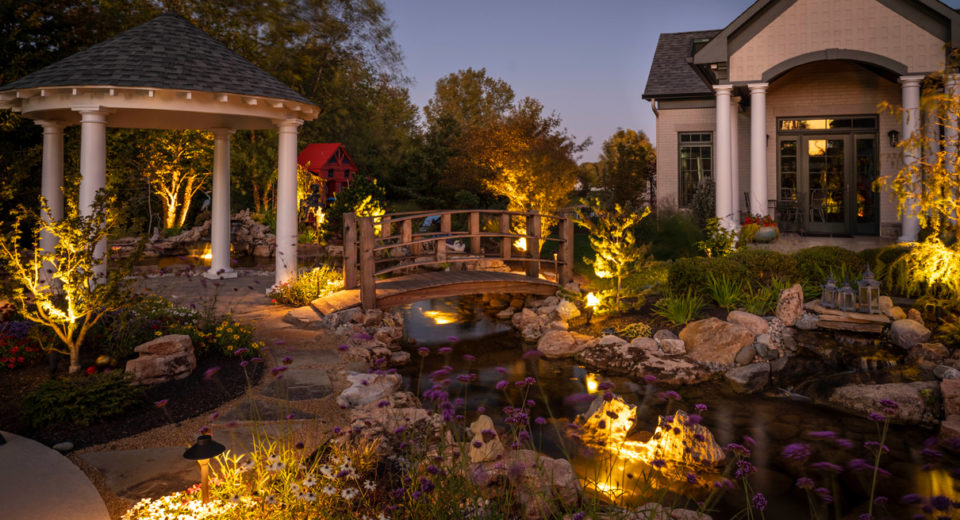 backyard secret garden with a koi pond