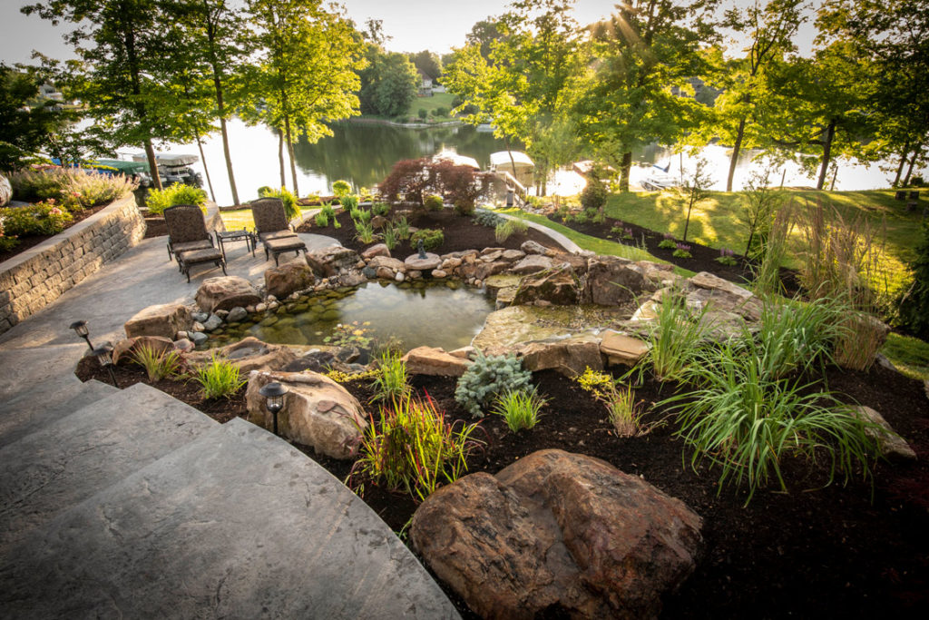water feature in backyard with beautiful views