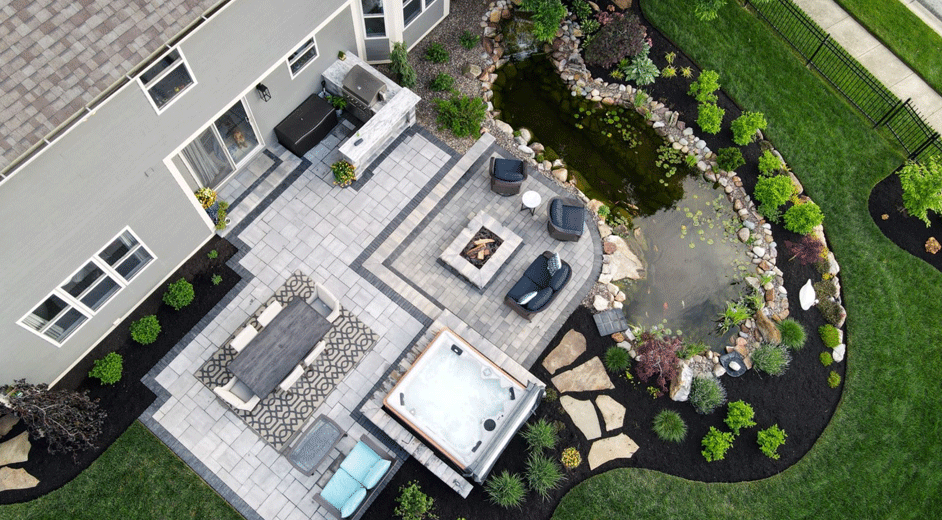 heaven at home - overhead view of patio with koi pond